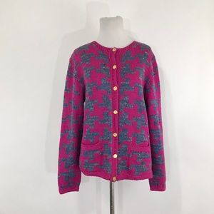 Peruvian Connection Pink Checkered Knit Cardigan L